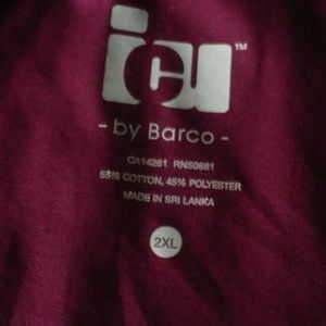 Barco ICU Tops - ❤️Barco ICU Burgundy Medical Scrub Top Cotton 2XL